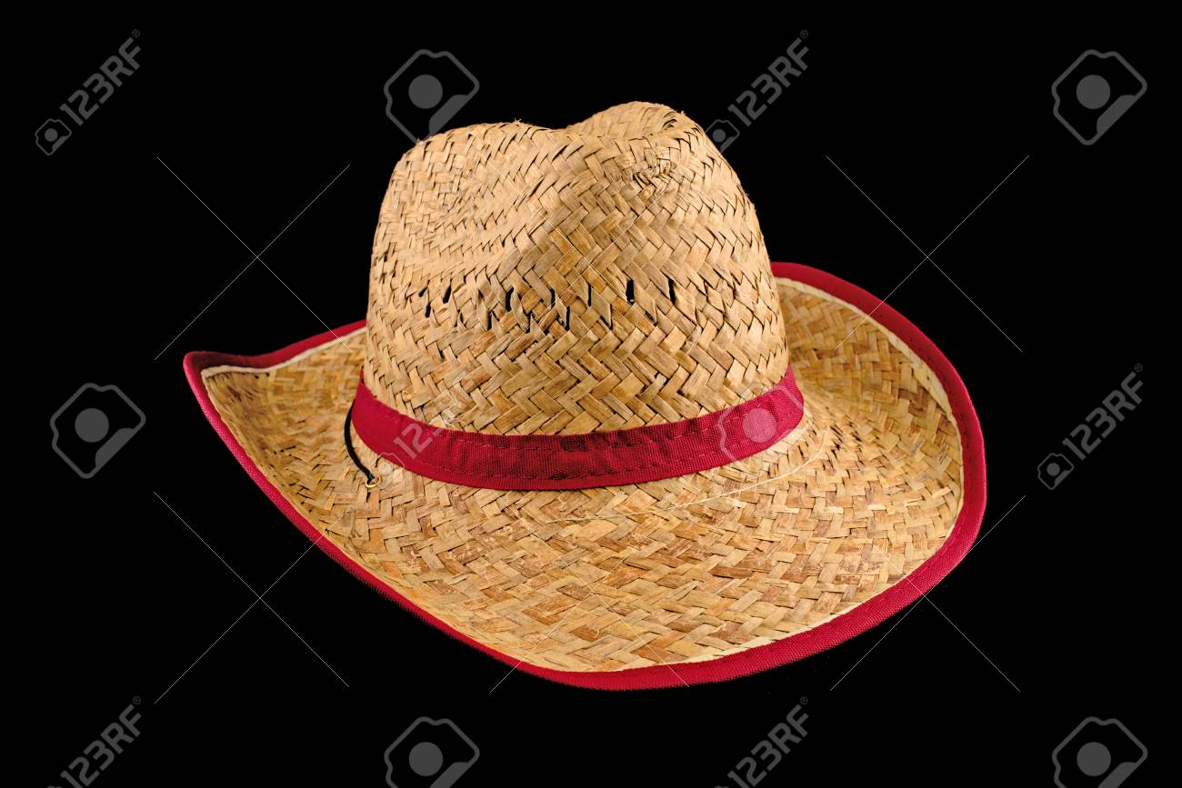 32f5ee34cb2 Stock Photo - Traditional American Cowboy straw hat isolated on black  background. Farmer accessory.