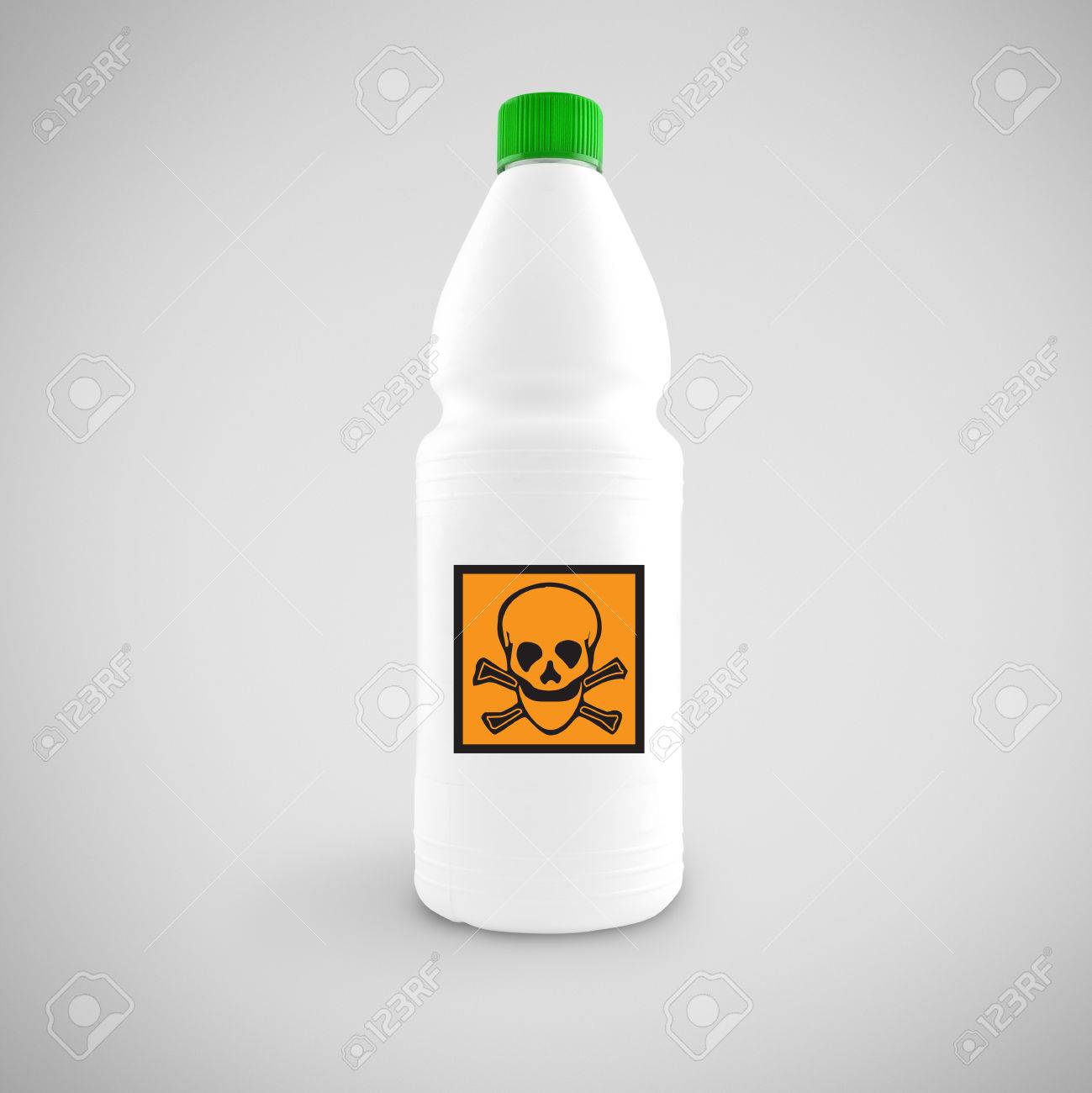 Bottle of chemical liquid with hazard symbol for toxic material - 30422490