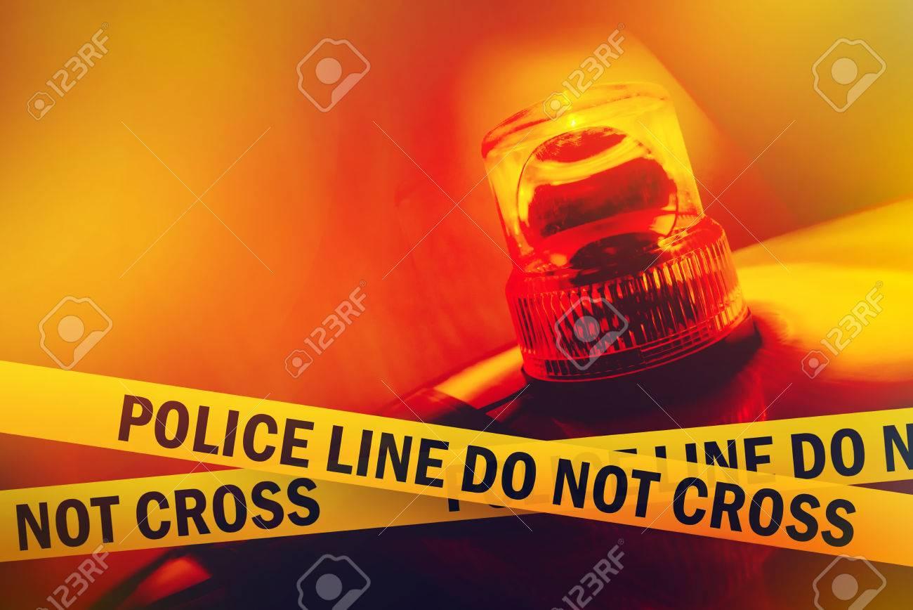 Police Line Do Not Cross Yellow Headband Tape and Orange flashing and revolving light - 30792783