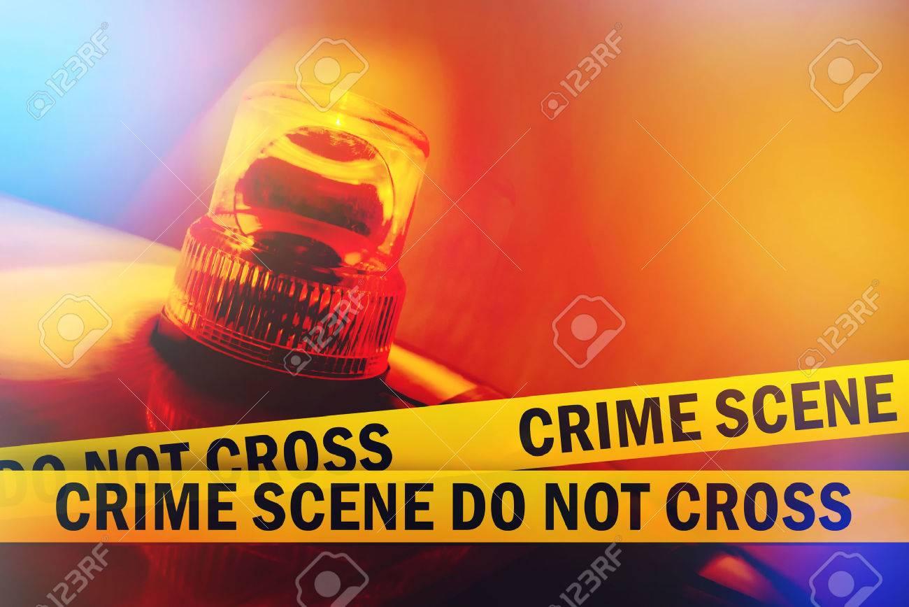 Crime Scene Do Not Cross Yellow Headband Tape and Orange flashing and revolving light Criminal Scene Police Ribbon - 30907092