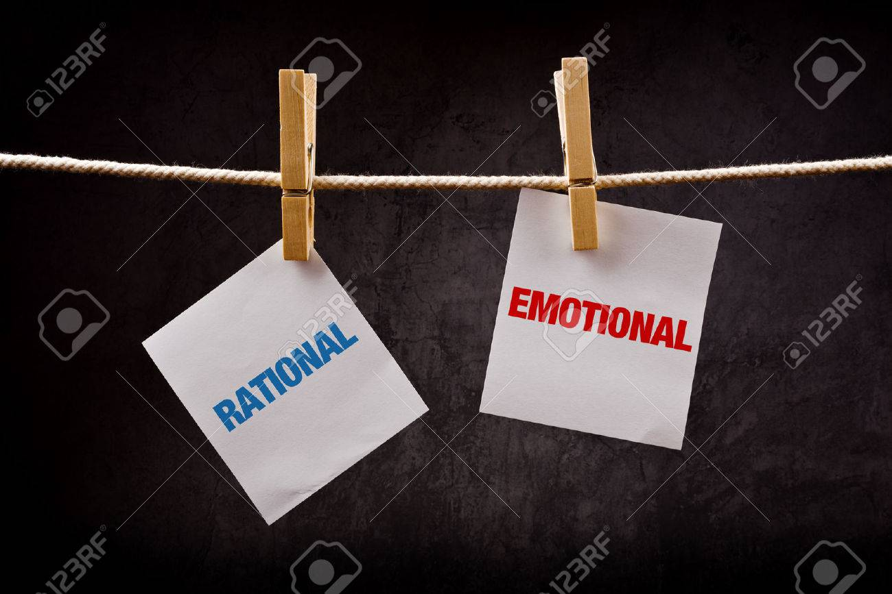 Rational vs Emotional concept. Words printed on note paper and attached to rope with clothes pins. - 31072705