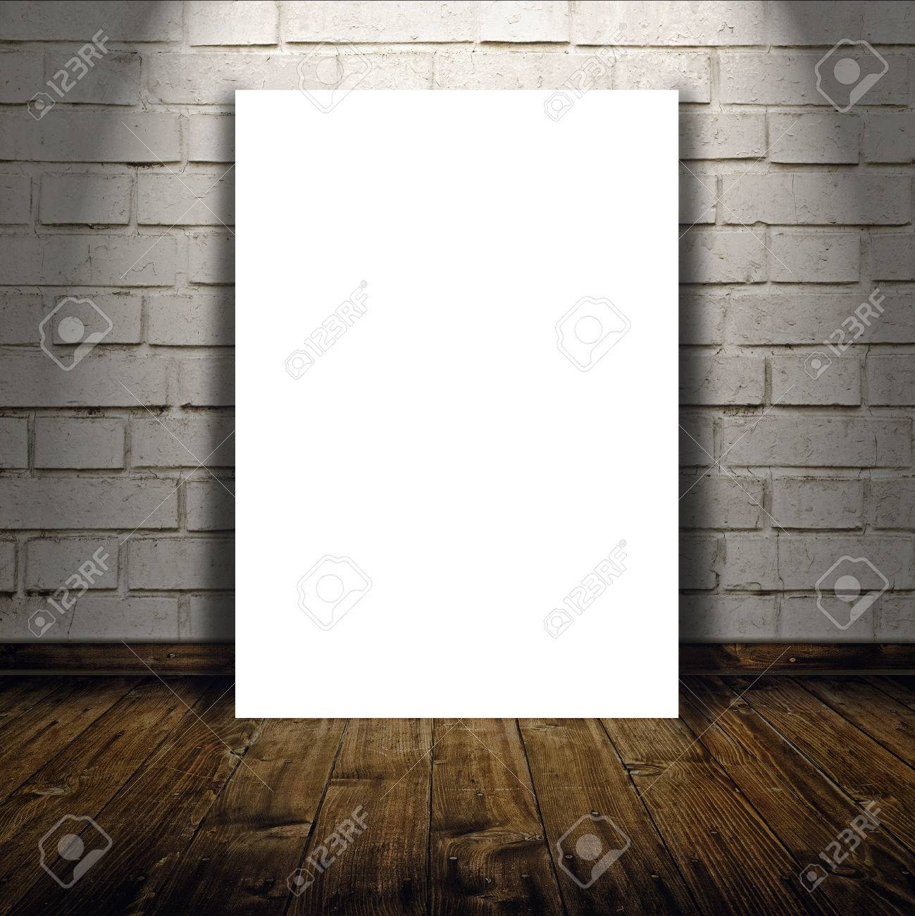 Blank poster as copy space template for your artwork or design blank poster as copy space template for your artwork or design in vintage empty room interior pronofoot35fo Choice Image