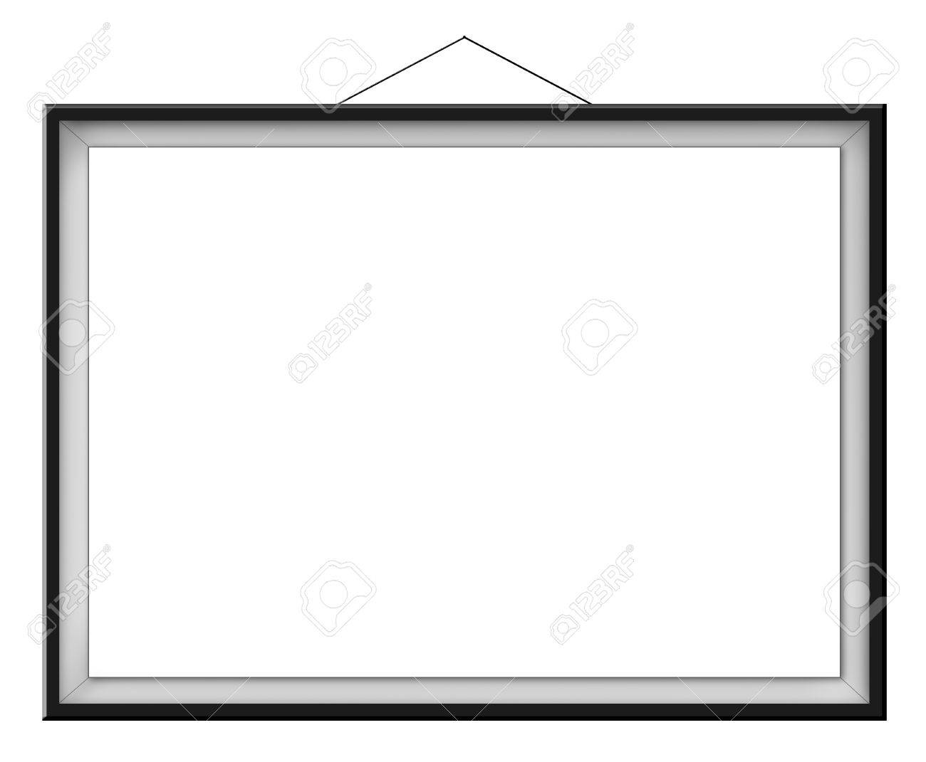 Blank Horizontal Painting In Black Frame Hanging On The Wall ...