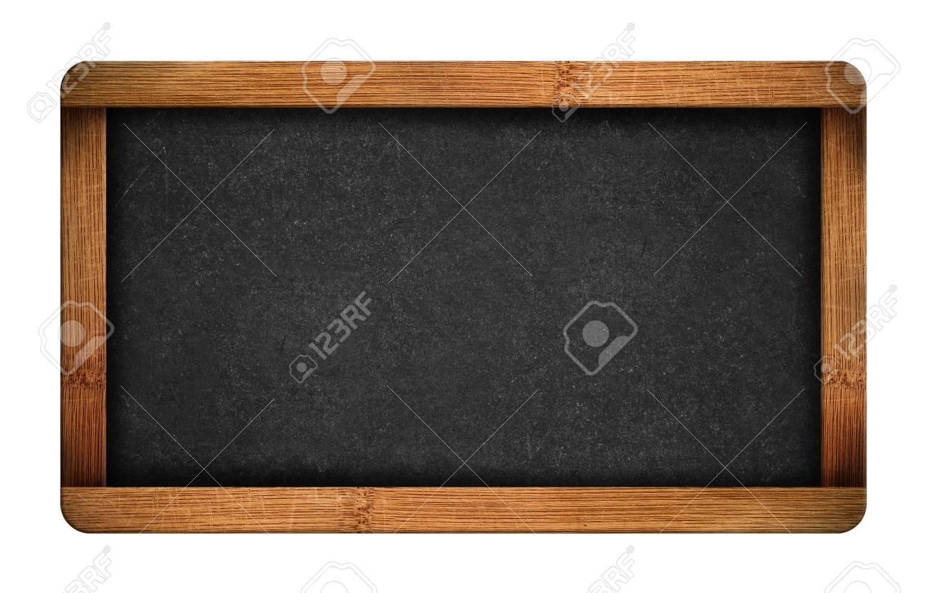 Vintage blank chalkboard slate isolated on white background - 34130399