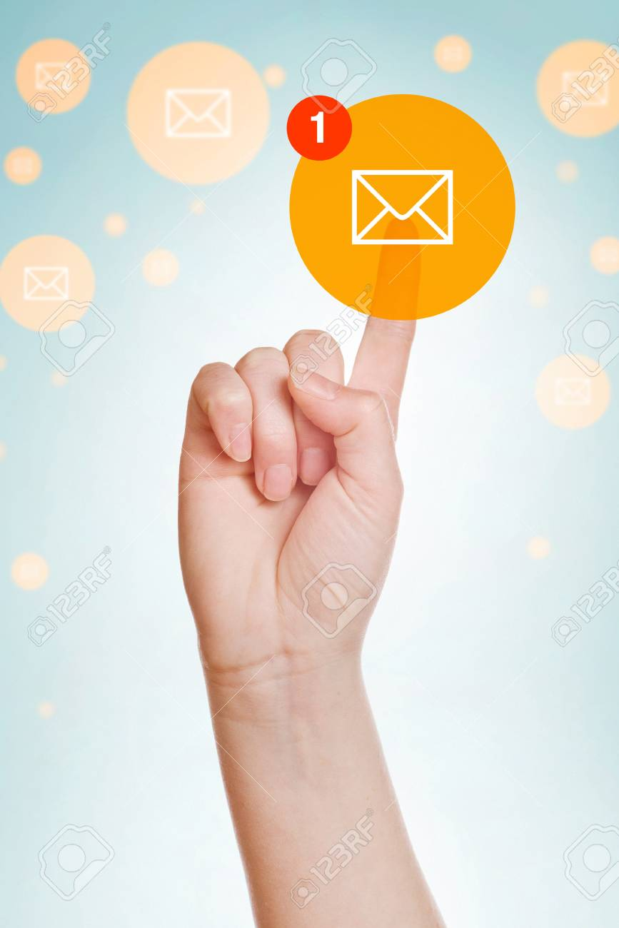 Checking E-mail Inbox, caucasian female hand pushing e-mail icon on virtual display. - 34599063