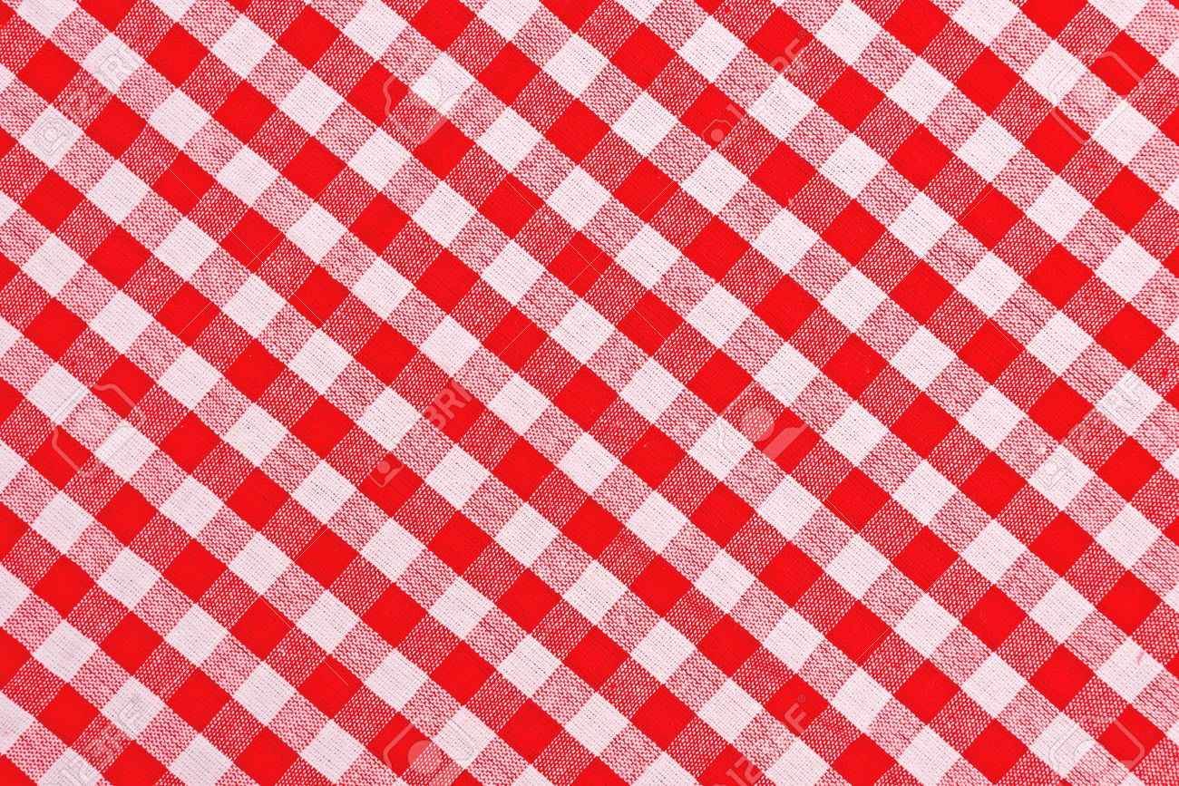 Red And White Checkered Tablecloth Pattern Texture As Background