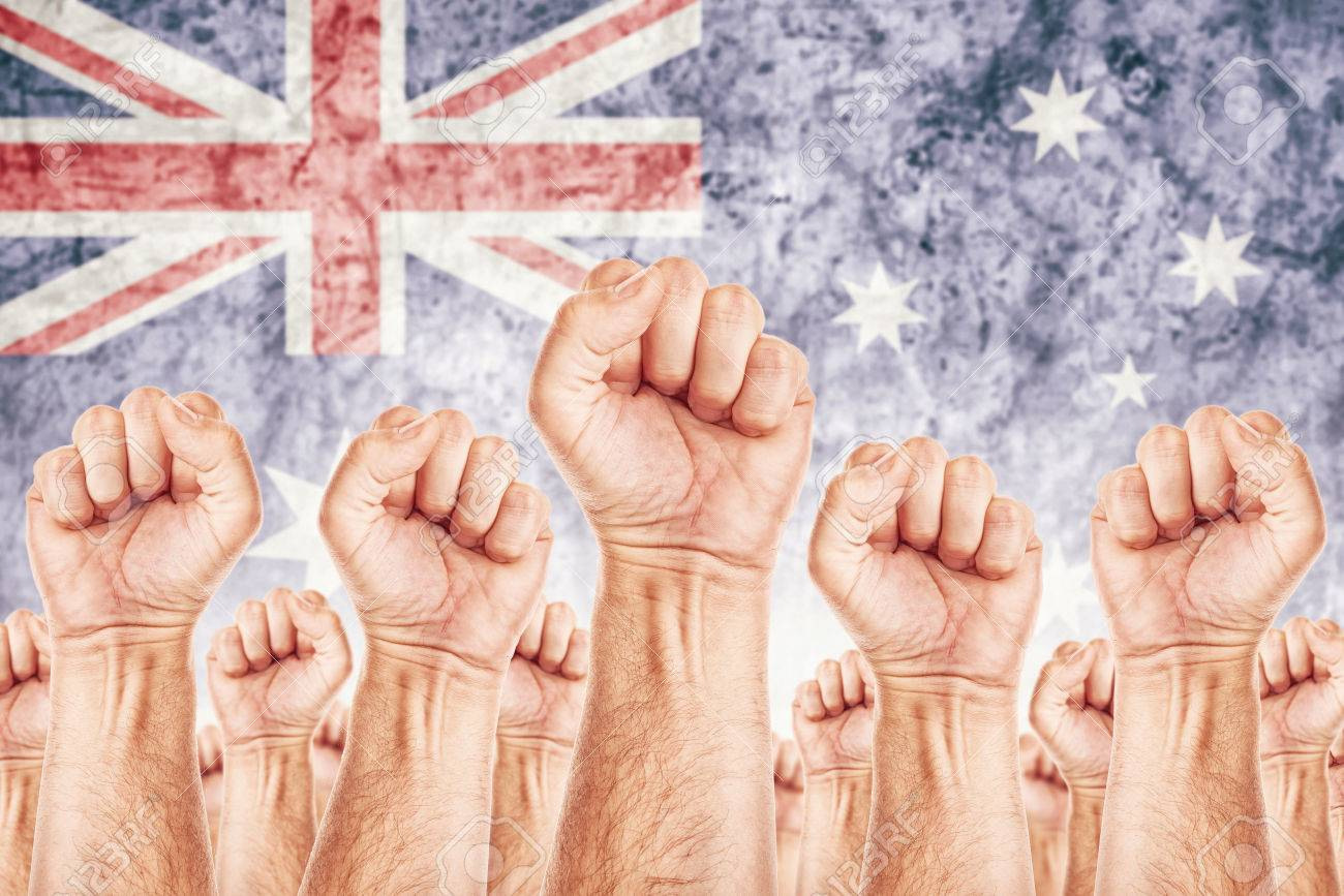 Australia Labour movement, workers union strike concept with
