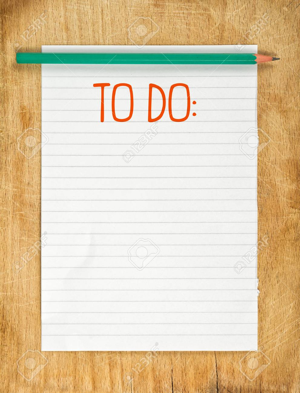 photo about Blank to Do List identified as Blank Towards Do Record with Pencil upon Wood Desk