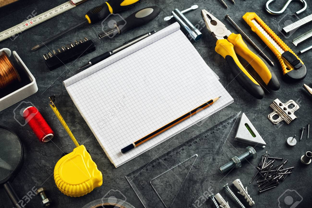 Assorted do it yourself diy tools and blank page notebook as stock assorted do it yourself diy tools and blank page notebook as copy space for home improvement solutioingenieria Images