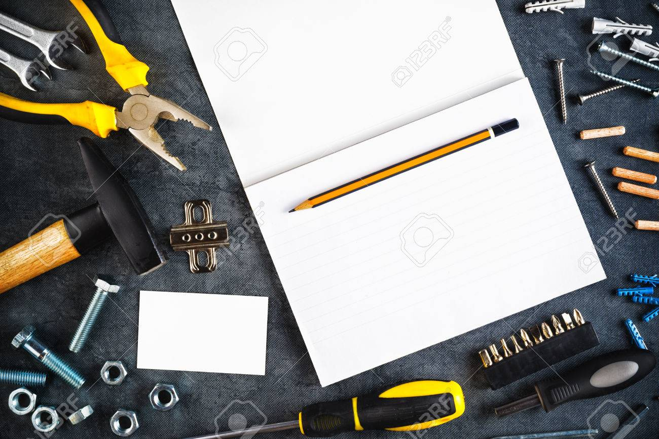 Assorted do it yourself diy tools and blank page notebook as stock assorted do it yourself diy tools and blank page notebook as copy space for home improvement solutioingenieria Gallery