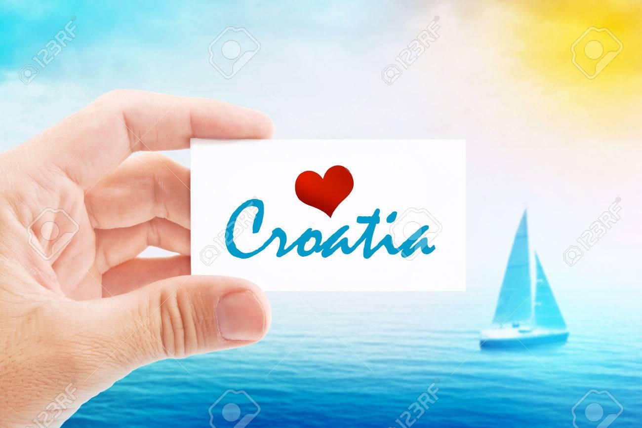 Vacances Dt Sur La Croatie Beach Personne Tenue Carte De