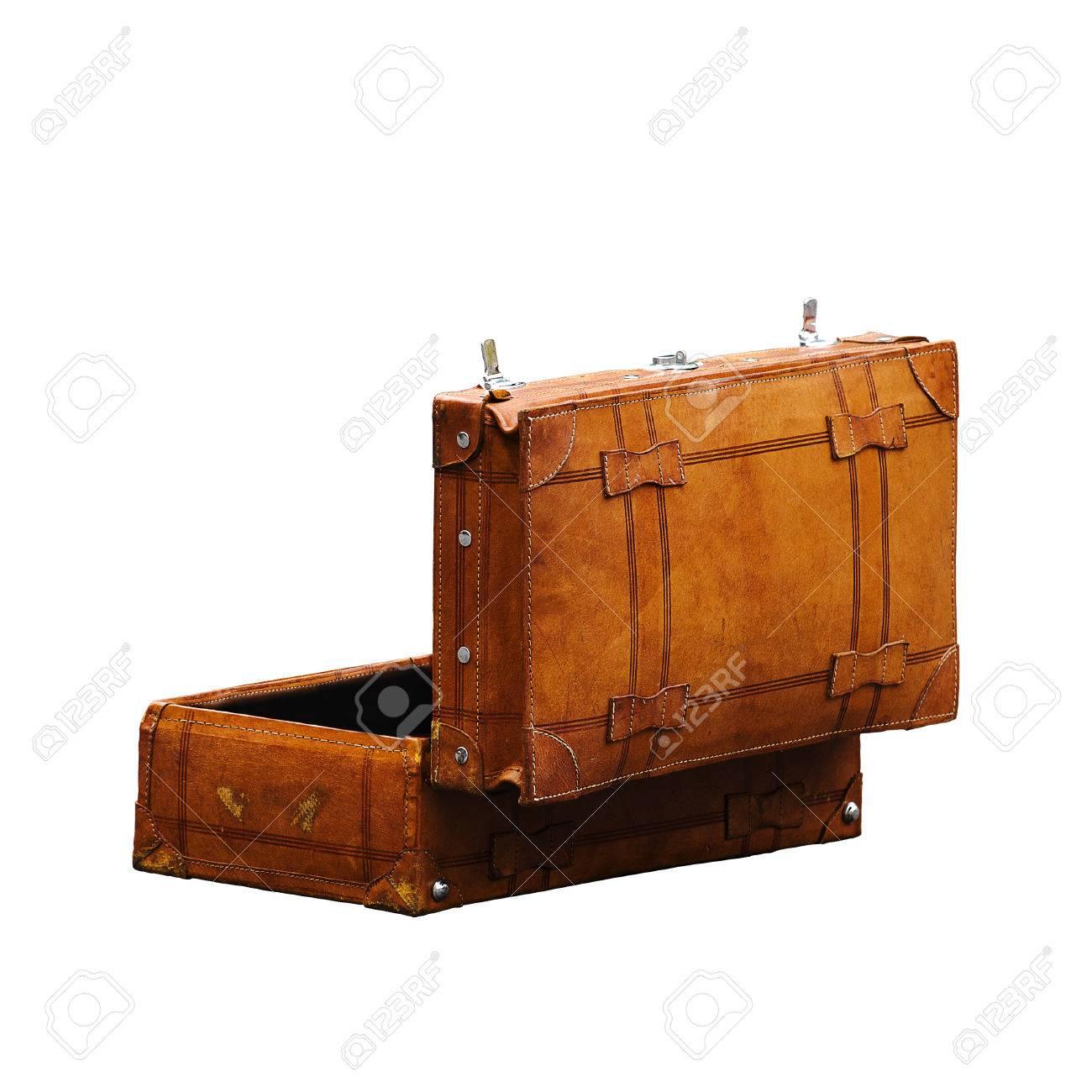 Vintage Leather Retro Luggage Suitcase Open ISolated On White
