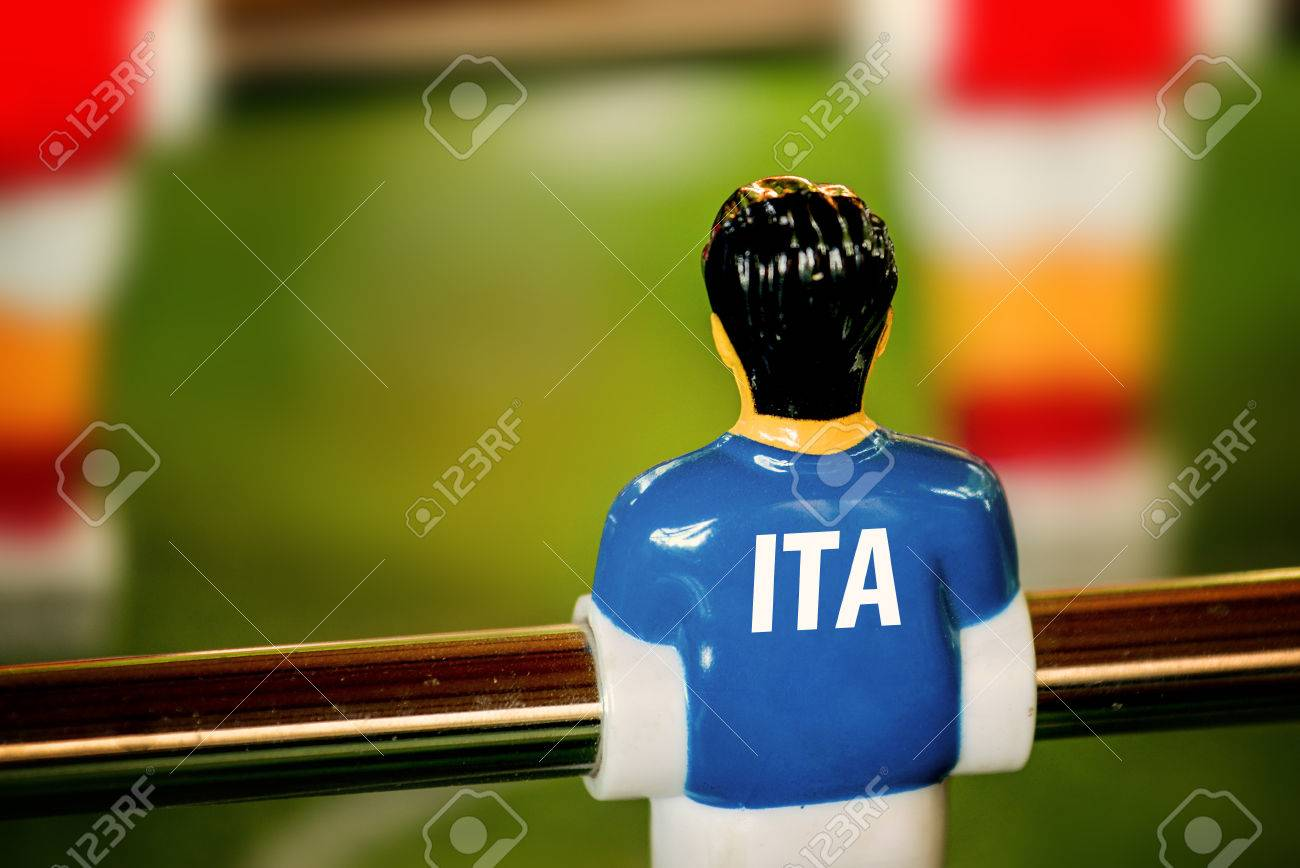 Italy National Jersey On Vintage Foosball Table Soccer Or Football - Italian foosball table