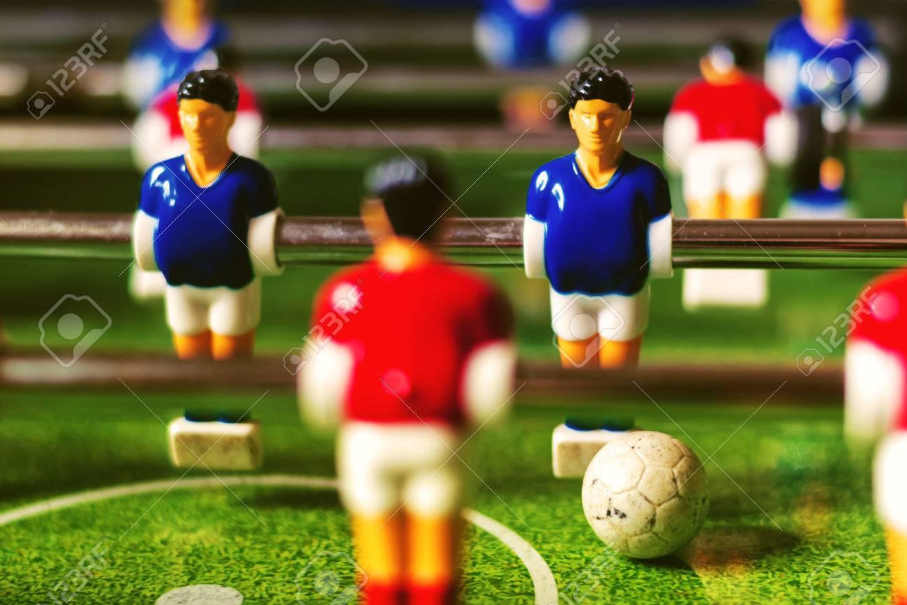 Juego De Futbol De Mesa Efecto Retro Tono Enfoque Selectivo Con