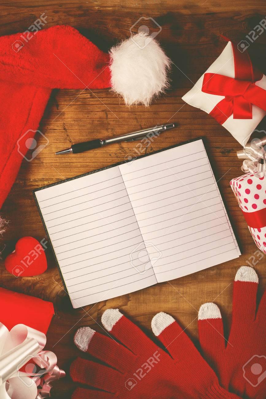 Weihnachtsmann Schreibtisch Wünschen Leeres Notizbuch Als Kopie ...