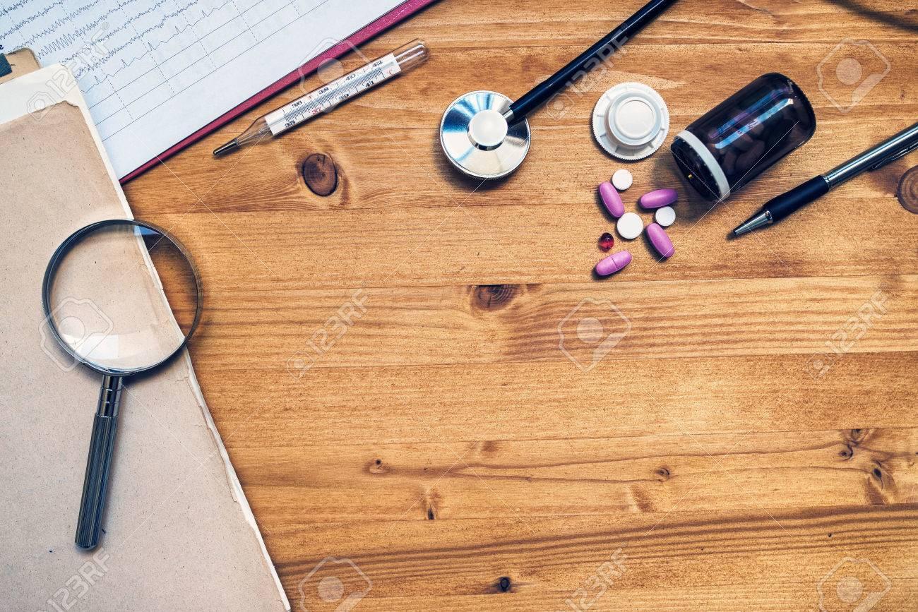 General medical practitioner work desk as copy space  Doctor's