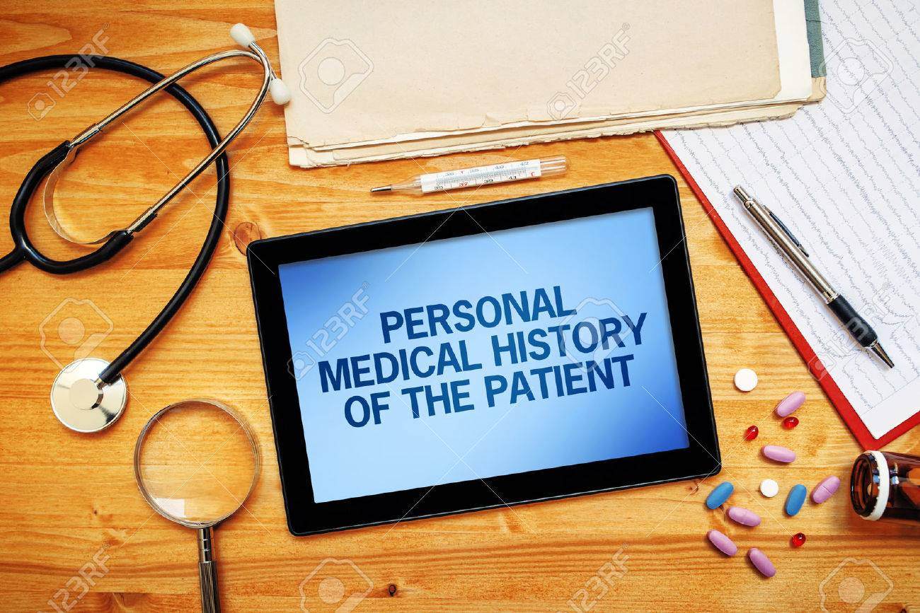 Personal medical history of the patient, healthcare concept with doctor's worskpace top view - 62392098