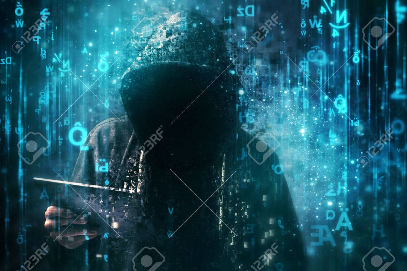 Computer hacker with hoodie in cyberspace surrounded by matrix code, online internet security, identity protection and privacy - 72526766