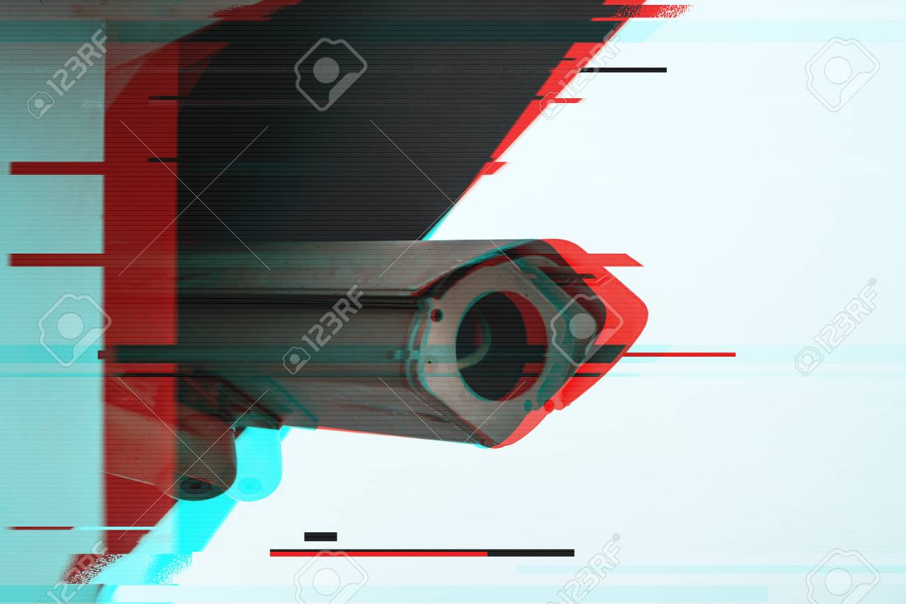 Full circuit or closed circuit CCTV camera with digital glitch