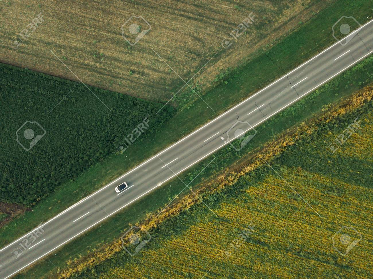 Aerial Shot Of Car On The Road From Drone Point Of View Stock Photo Picture And Royalty Free Image Image 108373749