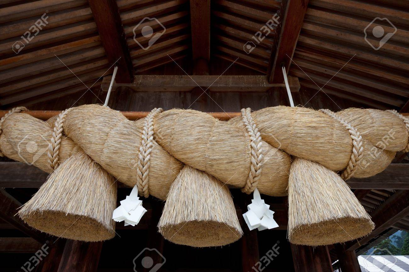 Rice straw rope used for purification in the Shinto japanese religion Stock Photo - 12563829