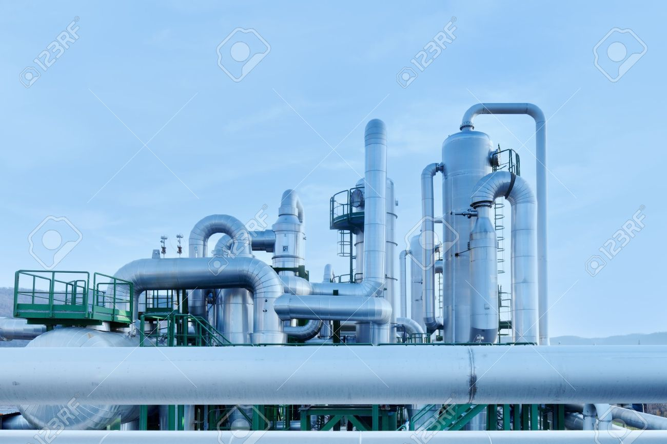 Geothermal energy. Industrial pipes details of a power station. Tuscany, Italy. Stock Photo - 12563795