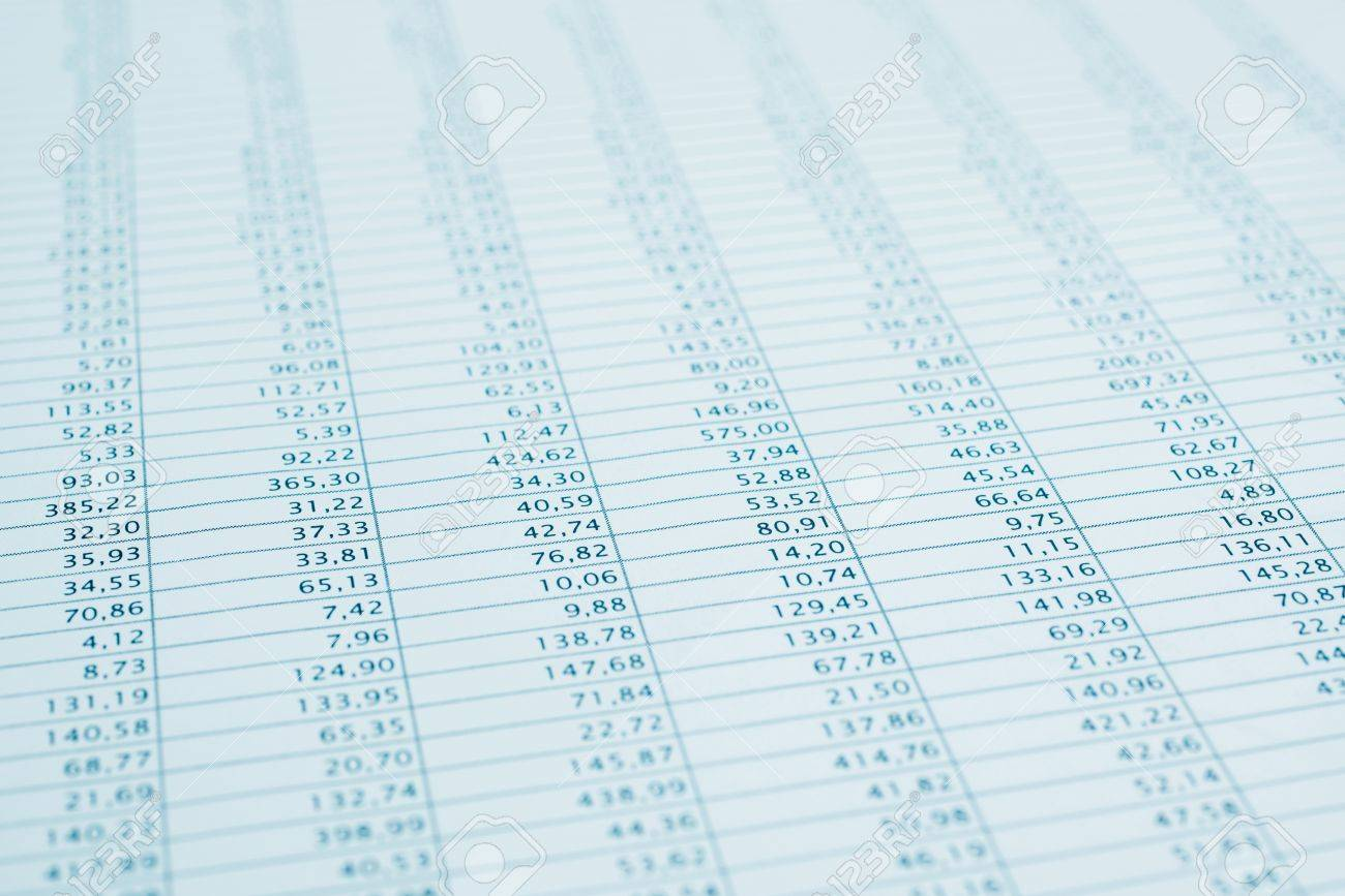 Business data report selective focus close up  Monthly stock stats spreadsheet  Blue toned Stock Photo - 16260594