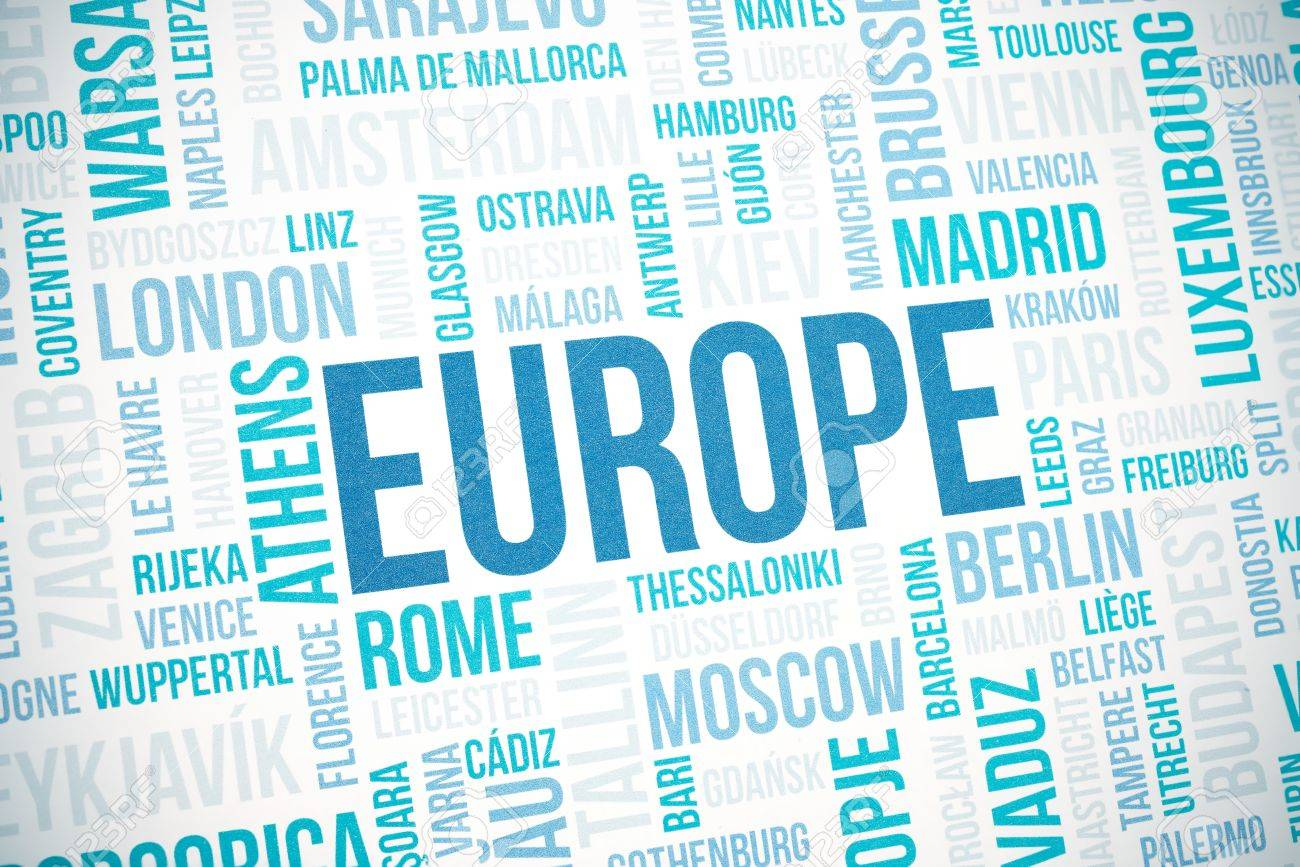 Europe cloud concept print, national capitals of countries and other cities words text background, blue toned and vignette added Stock Photo - 17445446