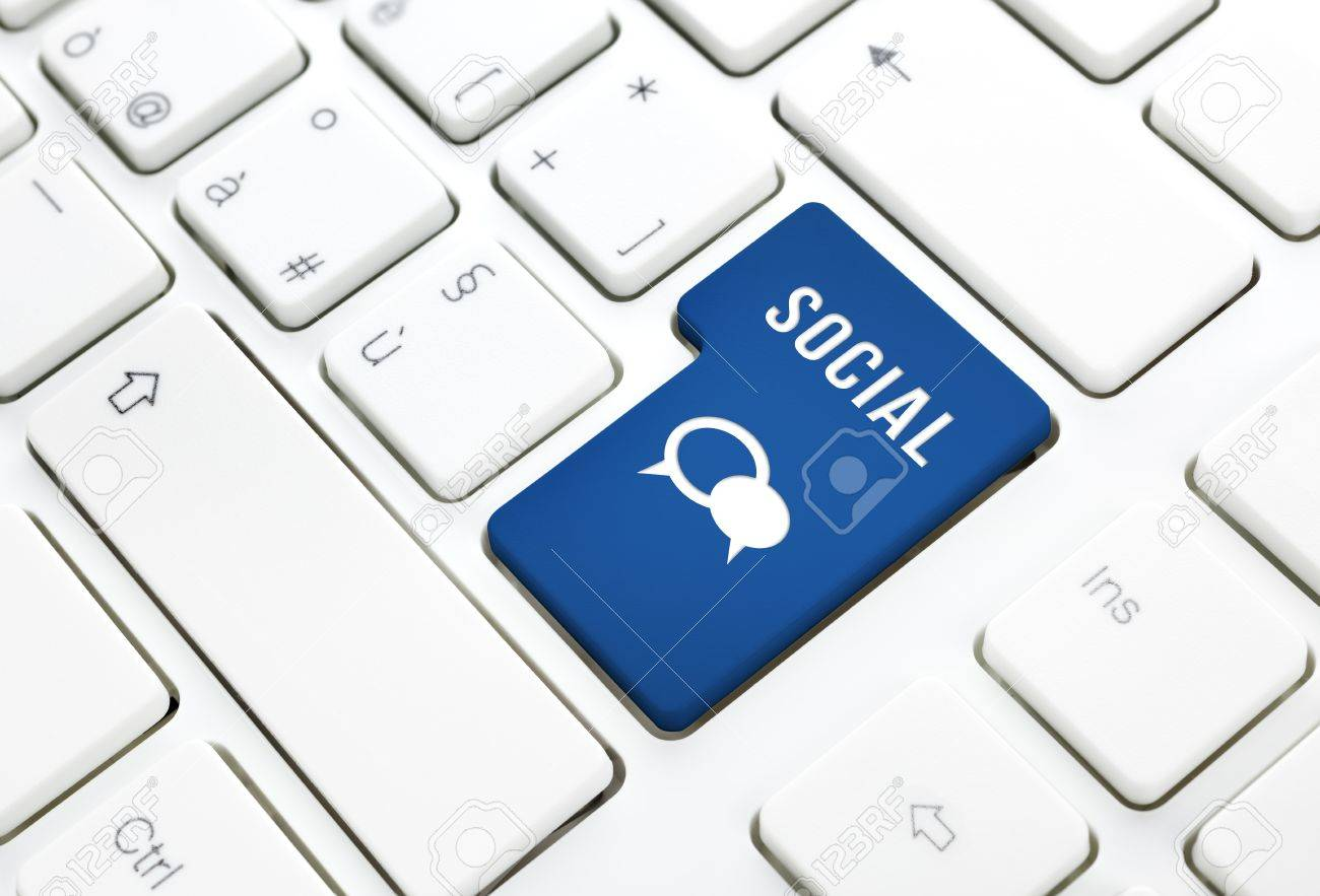 Social business concept, text and balloon icon, blue enter button or key on white keyboard photography Stock Photo - 19025110