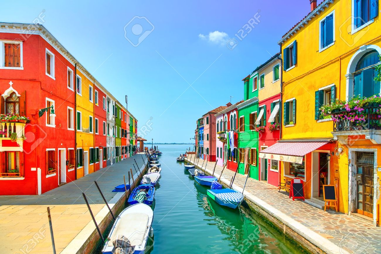 Colorful burano italy burano tourism - Stock Photo Venice Landmark Burano Island Canal Colorful Houses And Boats Italy Long Exposure Photography