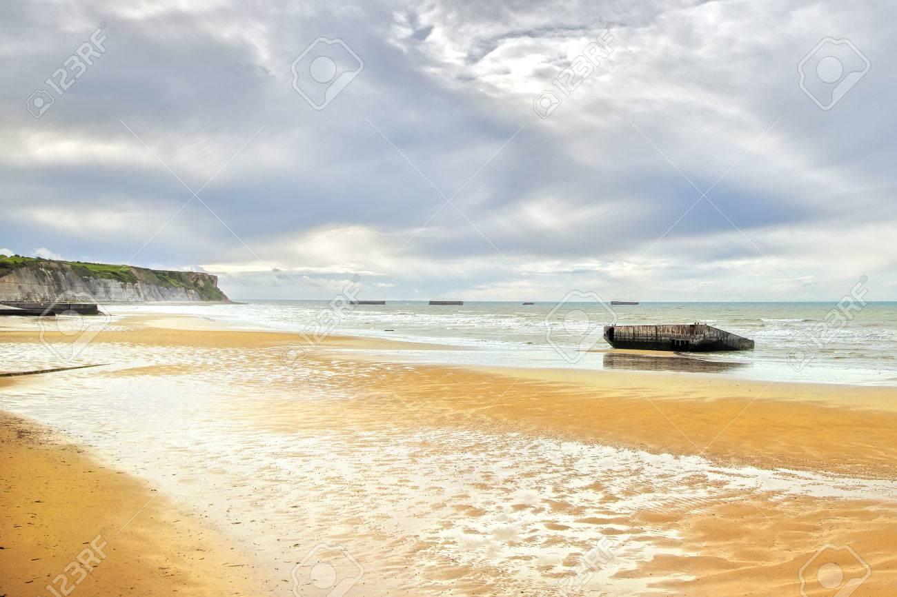Arromanches Les Bains Direkt Am Meer Und Strand überreste Des