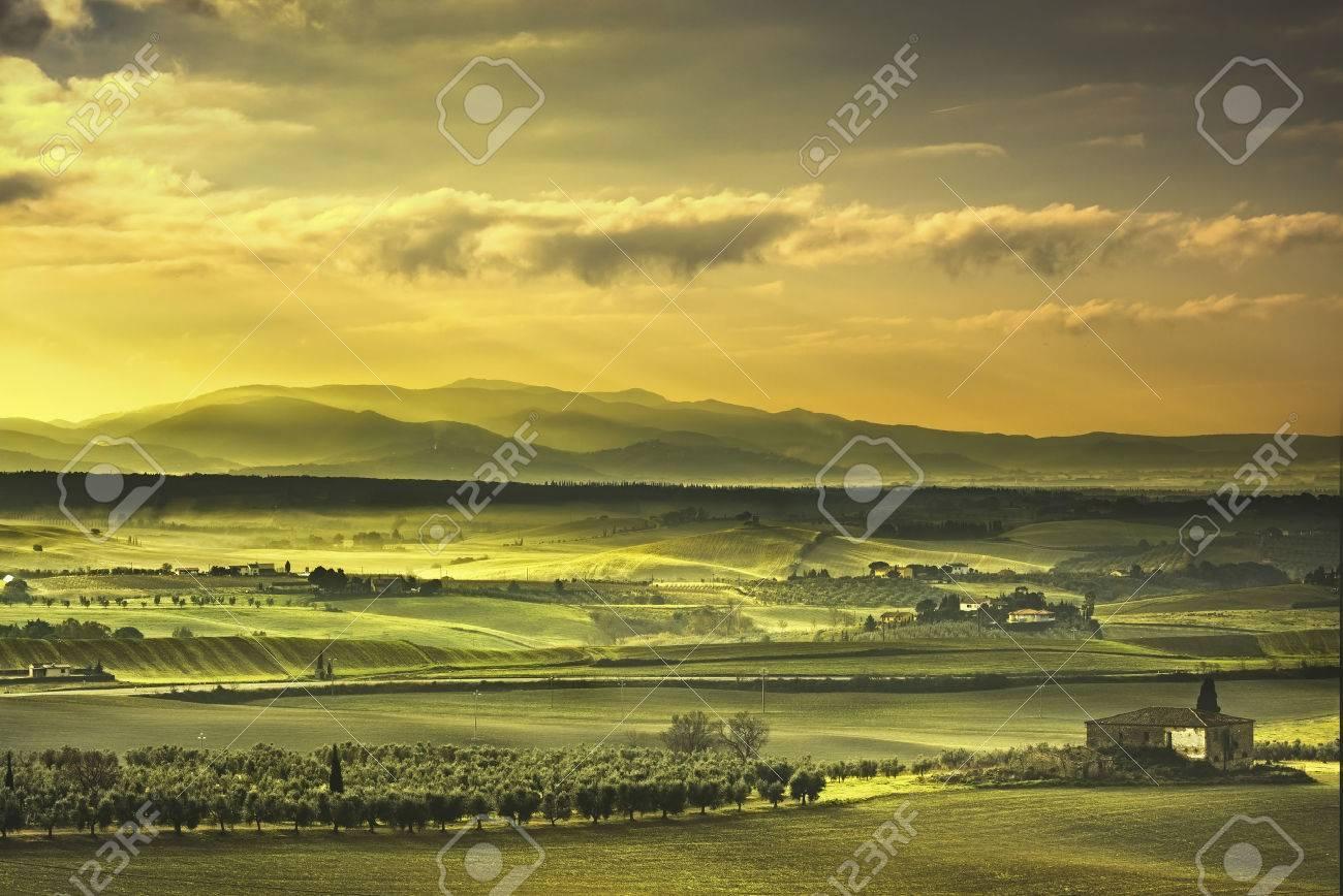 Tuscany Maremma foggy morning, farmland and green fields country landscape. Italy, Europe. - 50769960