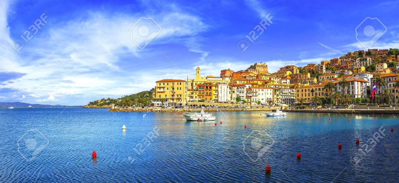 Porto Santo Stefano harbor seafront and village skyline, italian travel destination. Monte Argentario, Tuscany, Italy. - 55436930