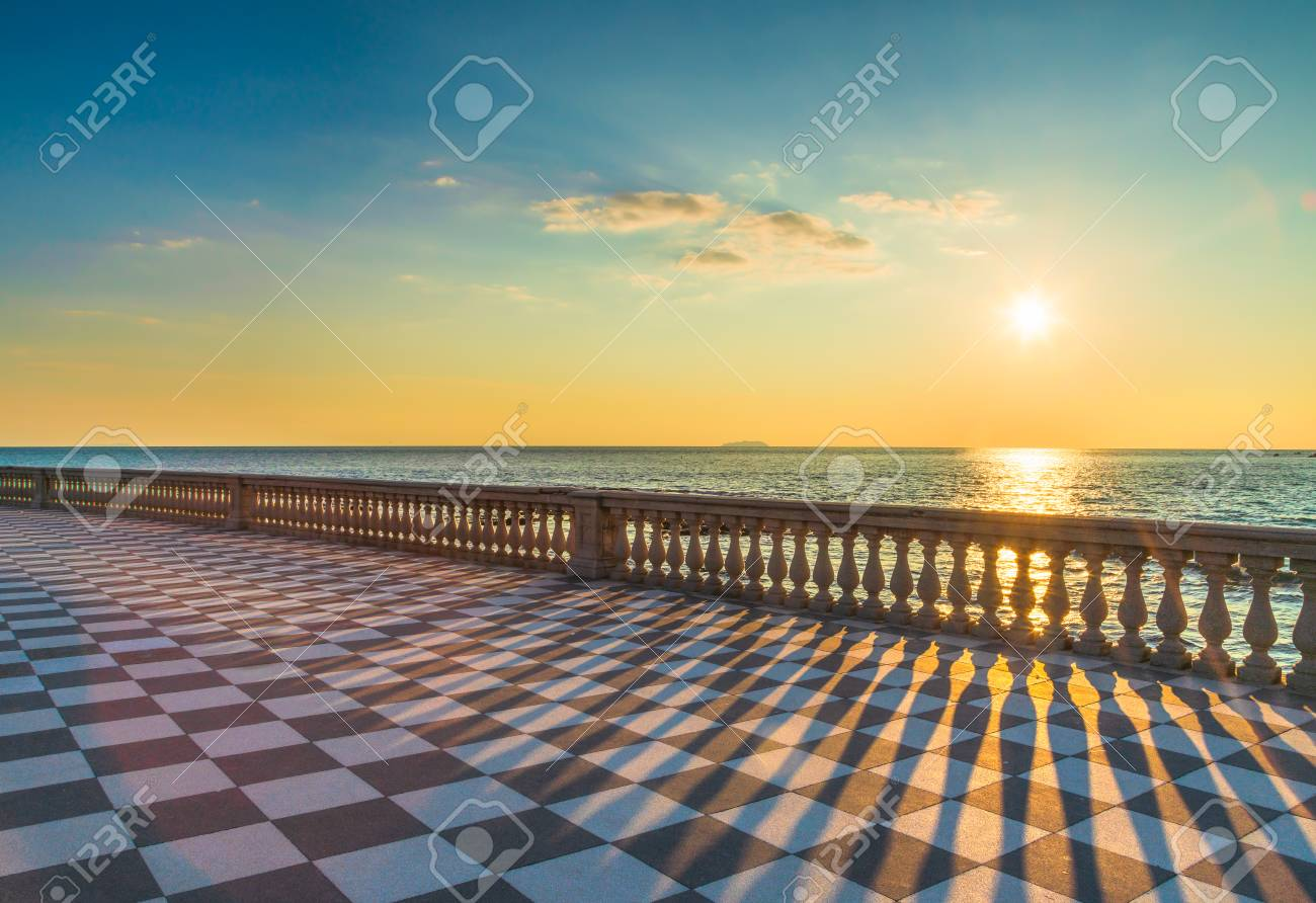 Mascagni Terrazza Terrace Belvedere Seafront At Sunset Livorno