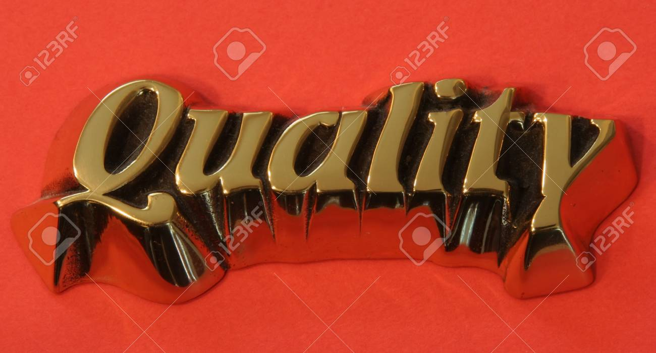 Quality on a red background Stock Photo - 1788967