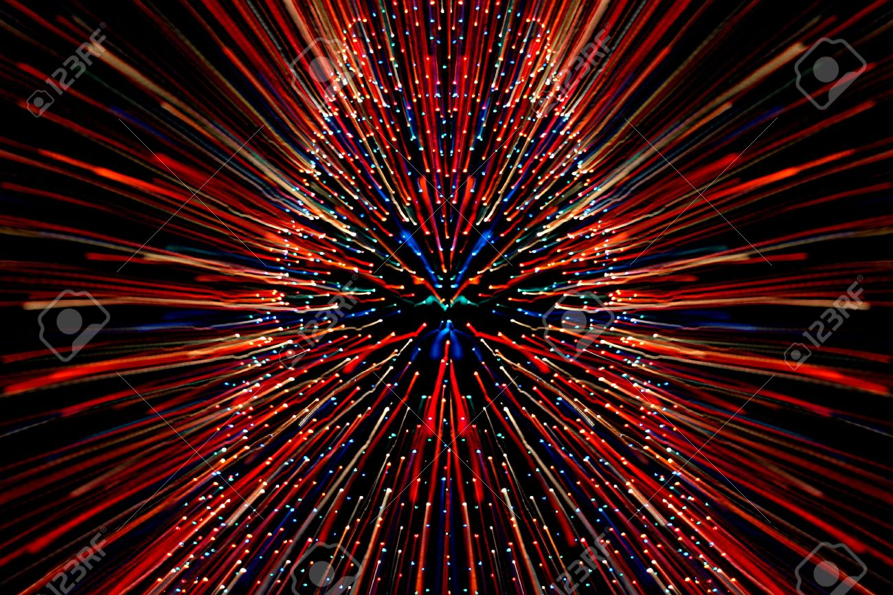Zooming In On A Large Christmas Tree Covered With Lights Stock ...