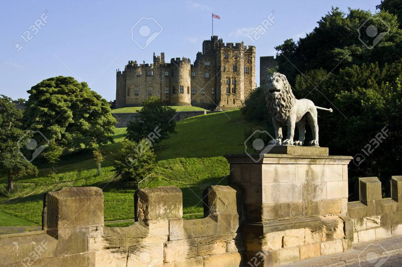 Alnwick Castle in the town of Alnwick in Northumberland in North East England Dates from 1096AD when Yves de Vescy became Baron of Alnwick and erected the earliest parts of the castle Since 1309 the castle has been in the hands of the Percy Family who a - 22371444
