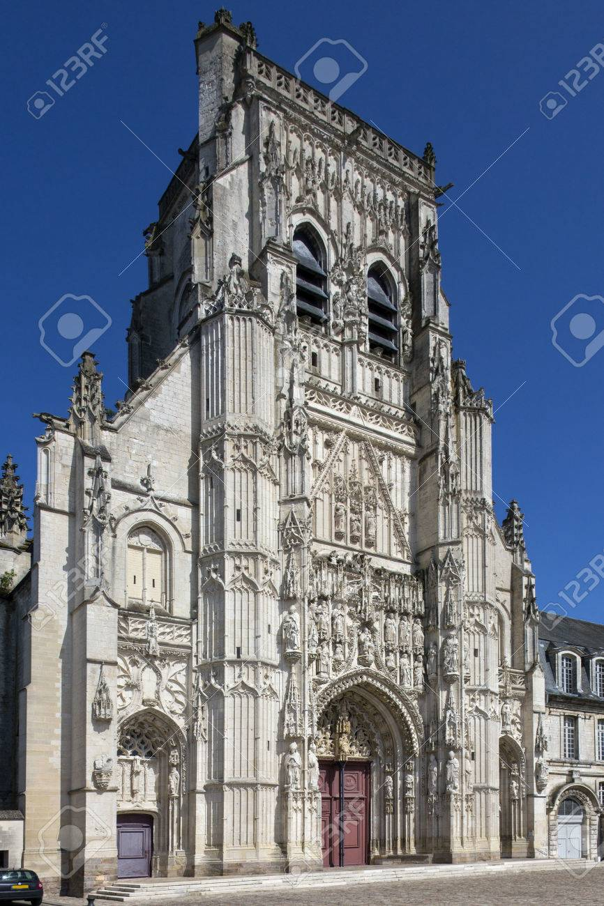 The Gothic Abbey of St Riquier in the town of Saint-Riquier in