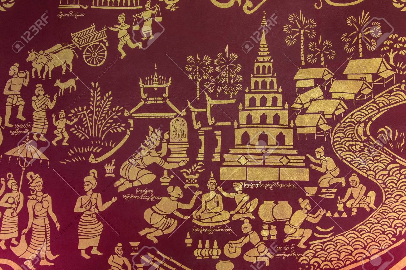 Wall painting in Wat Chiang Mun in Chiang Mai in northern Thailand  Stock Photo - 22453954