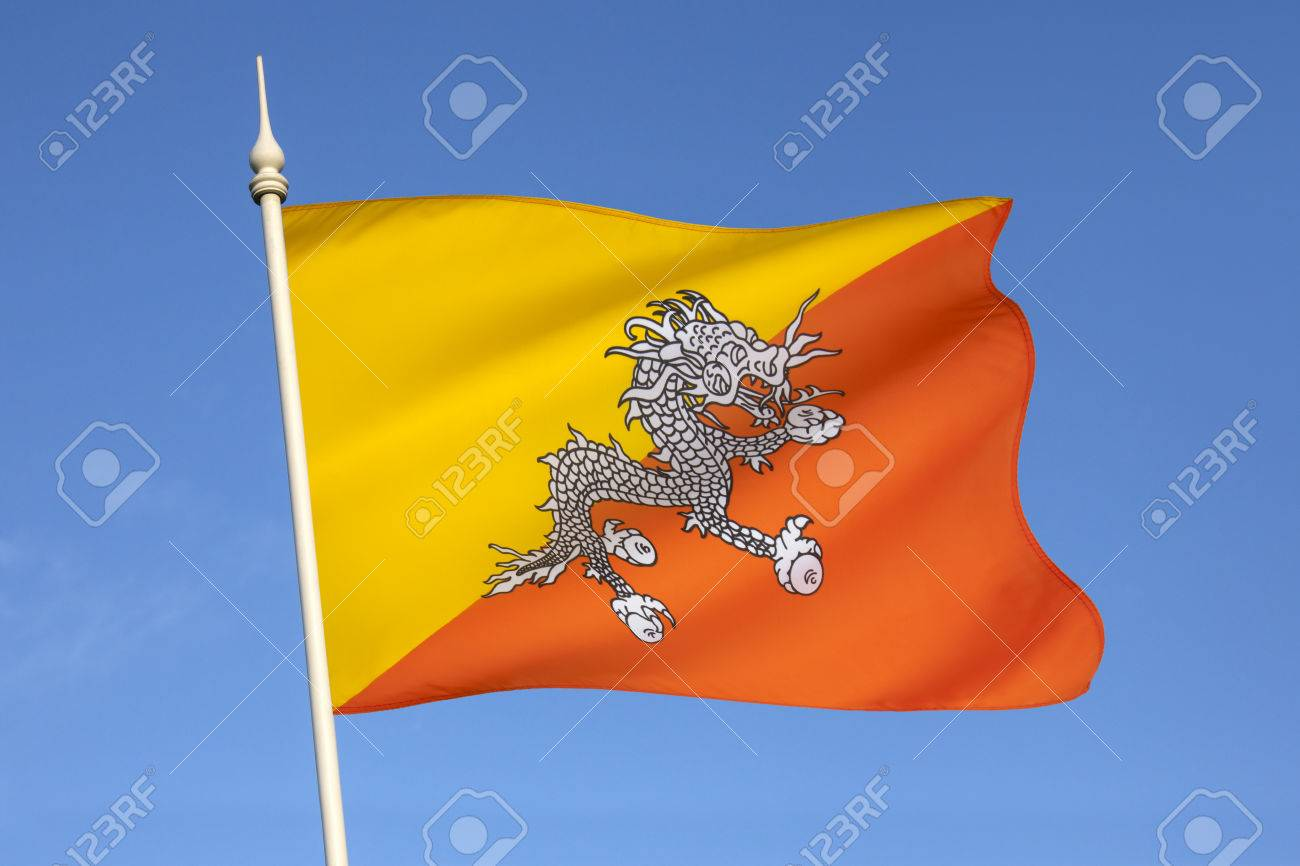 The National Flag Of The Kingdom Of Bhutan The Flag Is Based