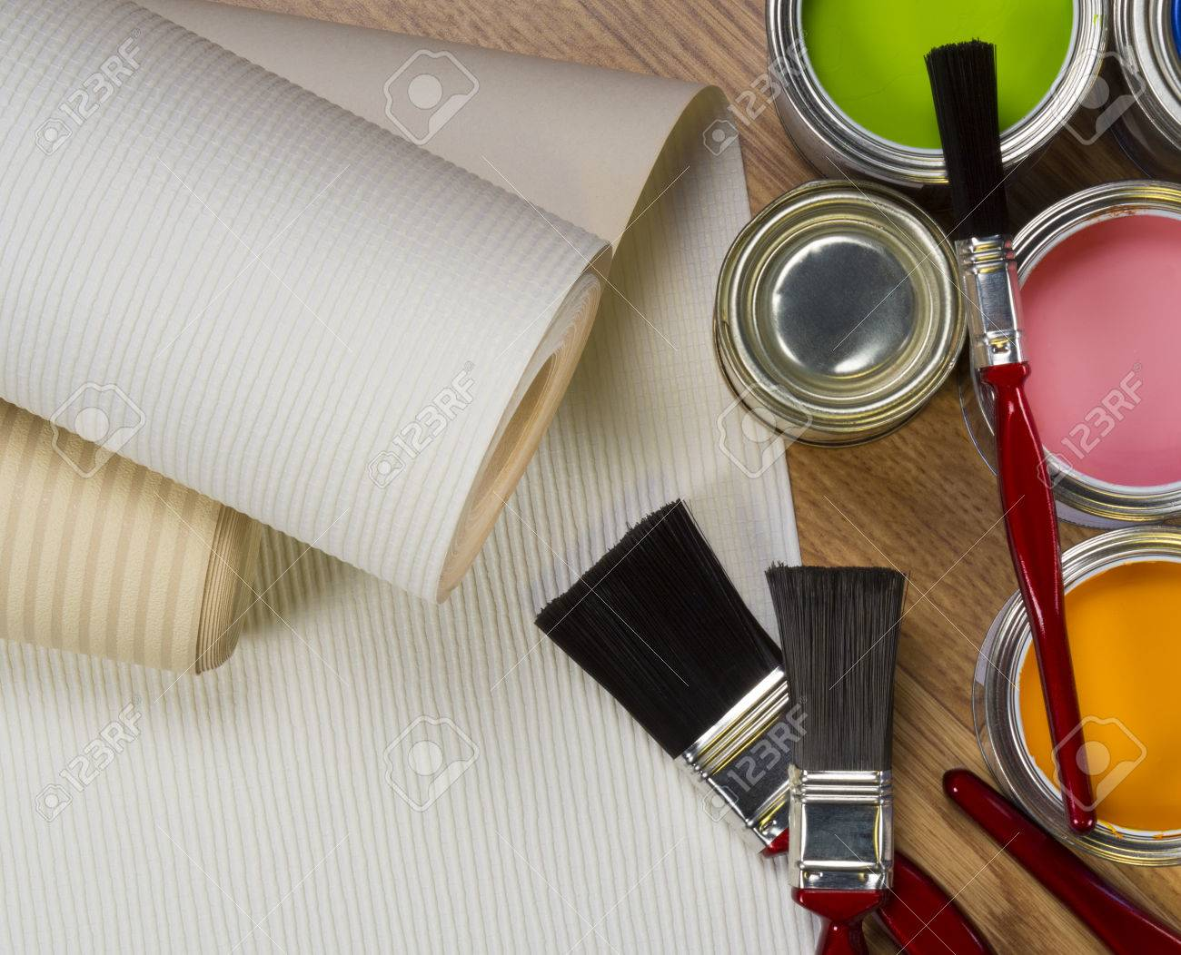 Interior Design - wallpaper and water-based paints used in painting and decorating. - 35873928