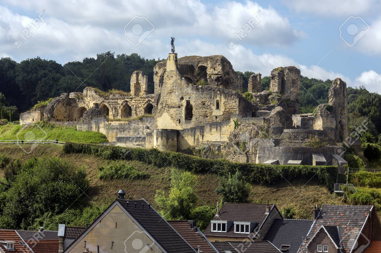 Valkenburg Castle - a ruined castle above the town of Valkenburg aan de Geul in the Netherlands. It is unique, in the Netherlands, by being the only castle in the country built on a Hill. - 69710644