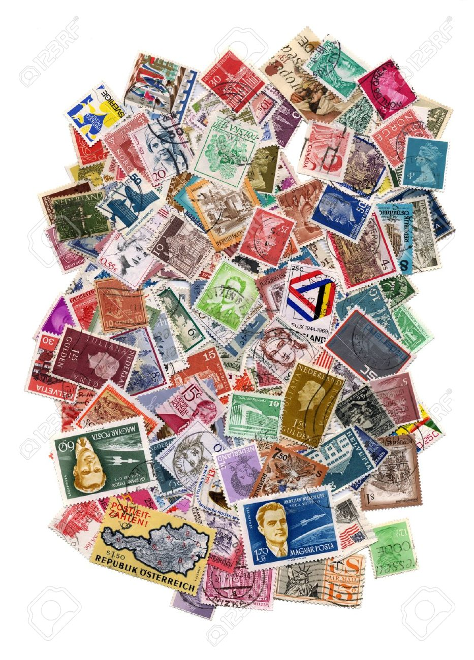 Hundreds of postage stamps from many different countries Stock Photo - 8817399