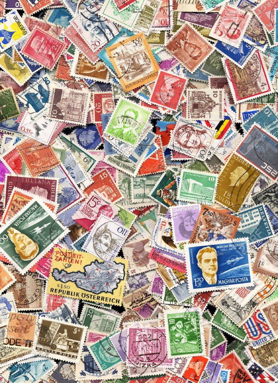 Hundreds of postage stamps from many different countries Stock Photo - 8817401