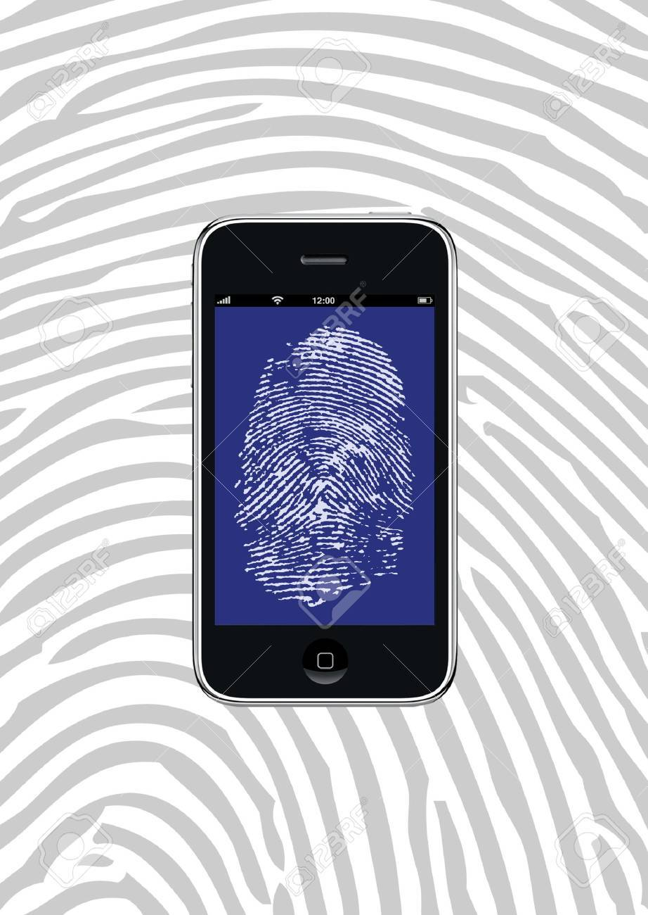 Smartphone with fingerprint wallpaper and background pattern - 9244754