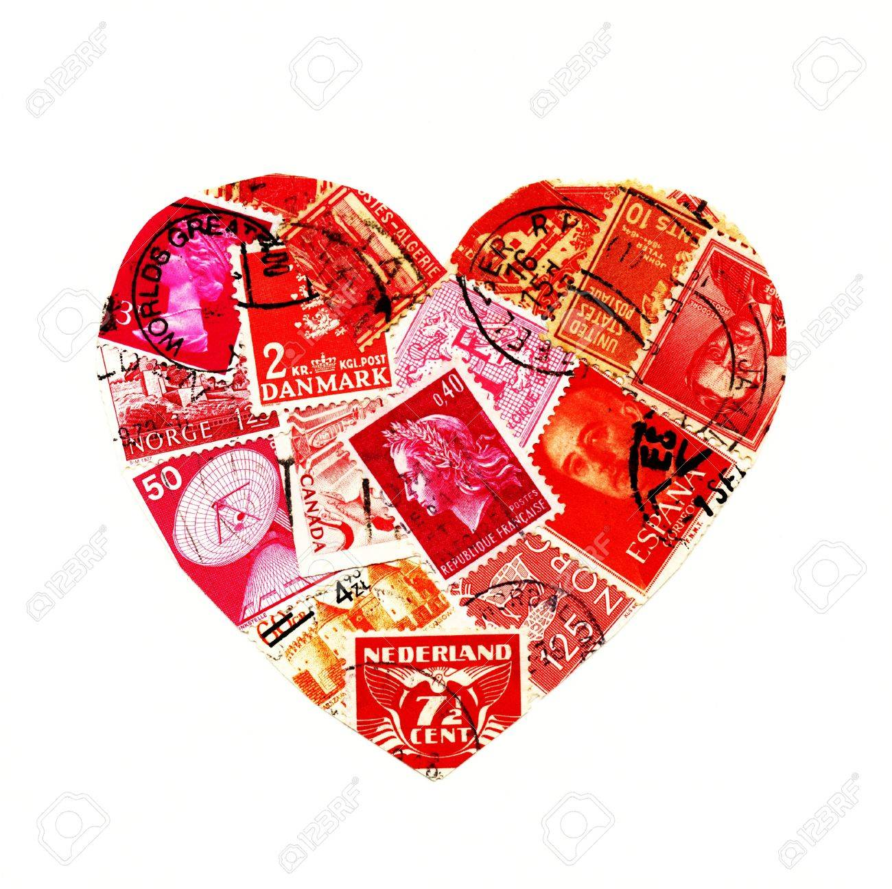 Red stamps from different countries in the shape of a heart isolated on white - 9646076