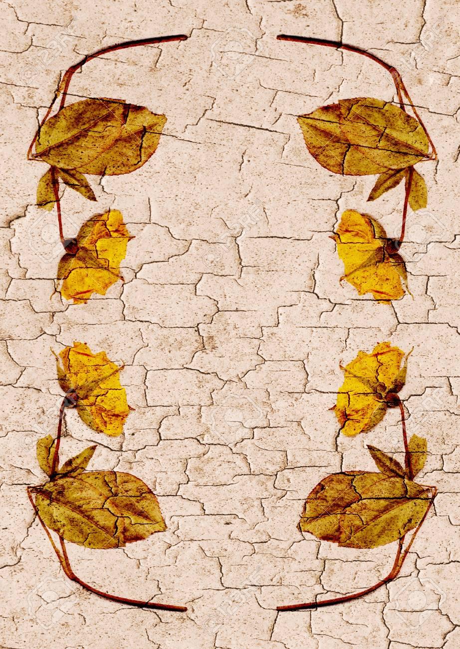 Rissige Wand Grenze Blume, Braun Und Gelb Standard Bild   10344747