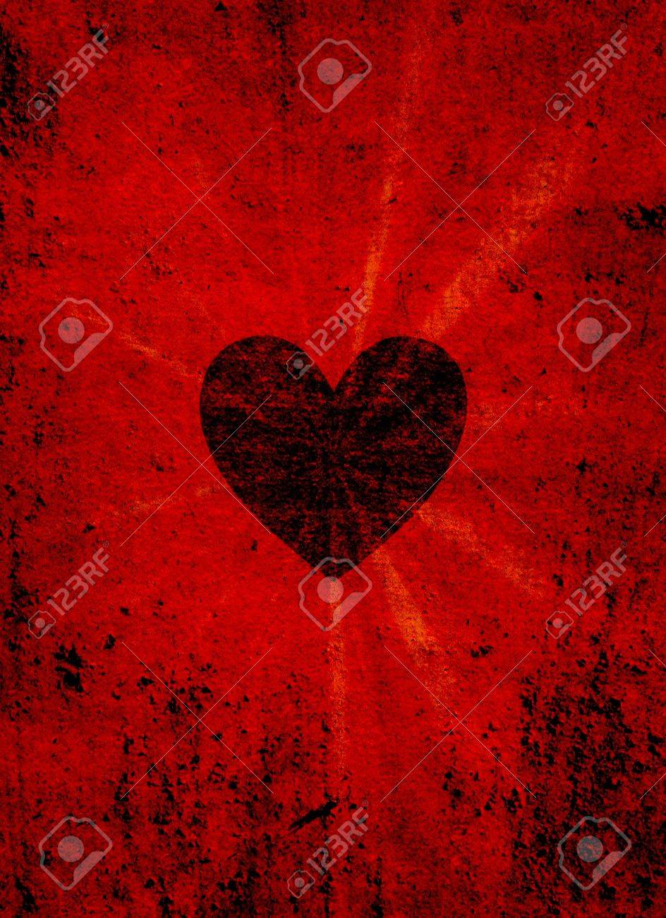 Black valentine heart on grunge background Stock Photo - 11958844