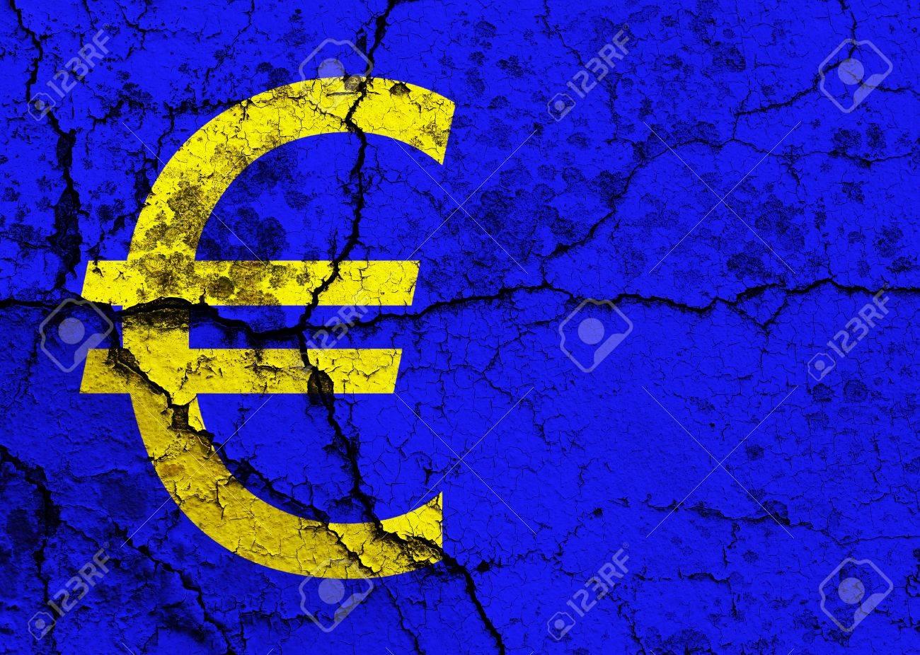 Euro symbol on a cracked grunge background - 12191305