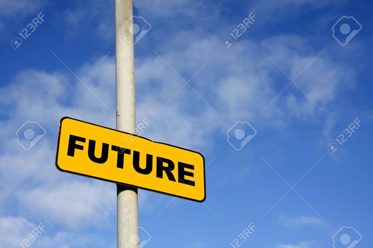 Yellow Future sign against a blue sky Stock Photo - 12508979